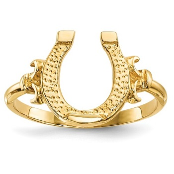 JMR644 14kt Yellow Gold Horseshoe Ring with Fancy Shank