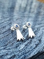 JM778ERSSLS Sterling Silver Sapphire Ribbon Earrings