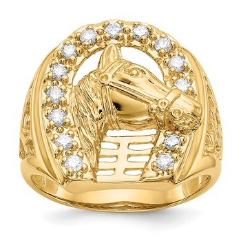 JMRM5837-050-YA Mens 14kt Yellow Gold Horseshoe Ring With Horse Head Set With Diamonds