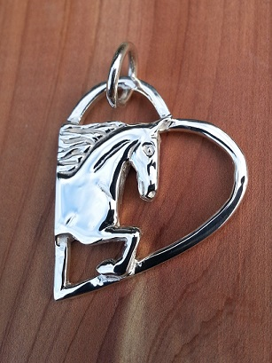 JM628SS Sterling Silver Saddlebred in cut out heart