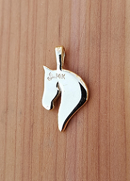 JM660 14kt Yellow Gold Polly Horse Head Pendant