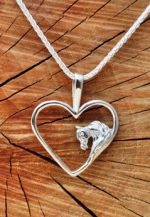 JET3547SS Arabian Horse Head in Heart Pendant Sterling Silver