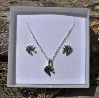 M2122SSSET Small Horse Head Sterling Silver Set