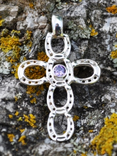 M2321SSCZ Horseshoe Cross Pendant with CZ