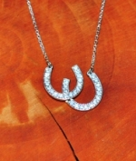 JM9858D Double Horseshoe Diamond Necklace